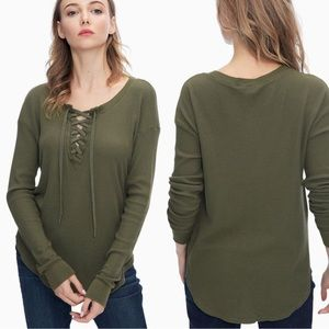 Splendid Army Green Lace Up Thermal Tunic Size S